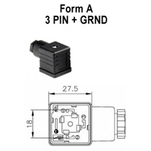 Form A 4 Pin Atam Cne Electrical Din 43650a Solenoid Valve Coil Field Wirable Connectors