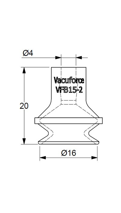 vfb15-2s vacuum suction cup 15mm single bellow silicone