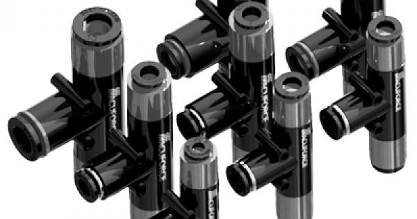 1.0 mm Diameter 5//16 Ports Vacuforce VMT1008 T Style Vacuum Venturi with an Internal Silencer